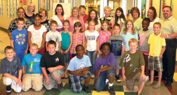 Macclenny Elementary third graders, teachers and administrators.