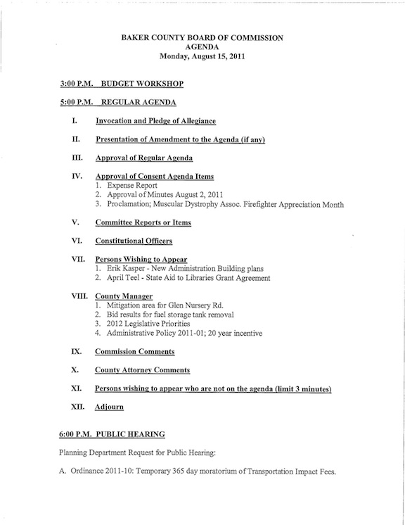 Baker County Commission's August 15 agenda.
