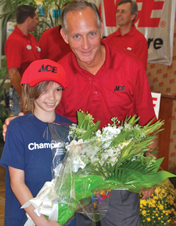 Haley Richardson with Hagan Ace stores owner Bill Hagan.