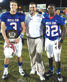 MVP Thomas Sirk, left, coach Ryan Sulkowski and Roland Gaskins, right.