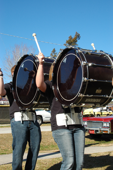 From left: Tyler Dolby and Billie Murray of the BCHS drum line.
