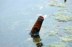 Beer bottle in the river.
