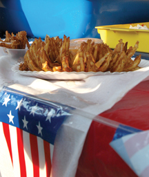 A blooming onion and many other fried foods were available to attendees.