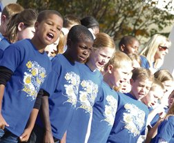Westside Elementary School students sing patriotic songs.