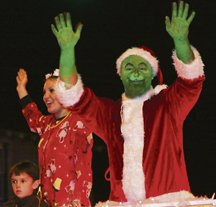 The Grinch in the lighted Christmas parade.