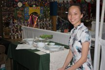Sylvia with her winning table-setting entry at the fair.