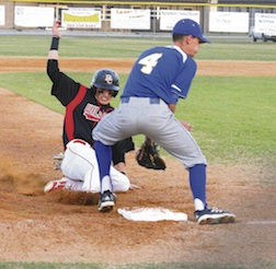 Hunter Hanks steals third.