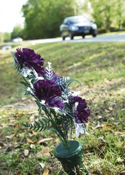 Flowers at the accident scene.