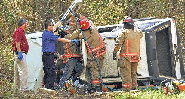 Woman injured as SUV strikes culvert, overturns on Crews Rd.