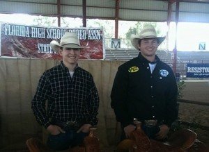Brandon Callen (right) with rodeo roping partner Aaron Barber.