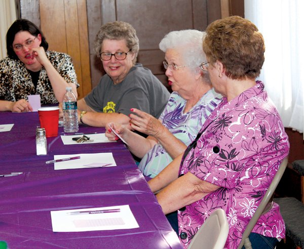 From left are Christine Horn, Frances Frost, Mary Finley and Marilyn Hodges at the Relay For Life wrap party.