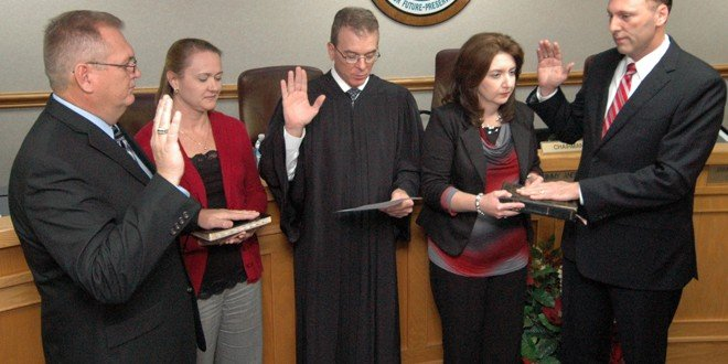 New, sitting commissioners sworn