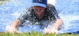 VIDEO: Slip-n-slide cools down campers on final day of baseball camp