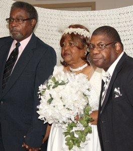 Groom, bride and best man.