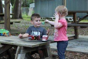 Mahlon Oglesby, 3, with Kerrigan Davis, 2.