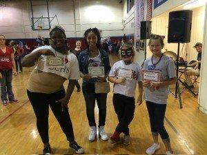 Team Spirit contest winners L-R Na'desha Davis, Kierra Richardson, Daycie Adkins and Brooklyn Kennedy