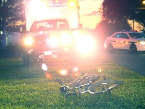 Bent up bicycle at the fatality scene.